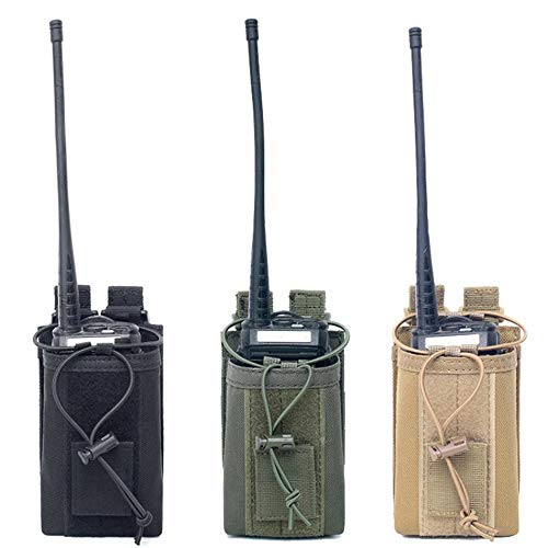 1000D Nylon Outdoor Tactical Pouch Sports Pendant Military Molle Radio Walkie Talkie Holder Bag Hunting Magazine Pouches Pocket (Black)
