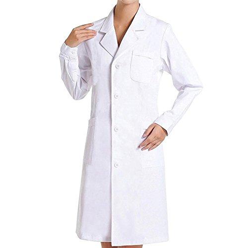 Bata Médico Laboratorio Enfermera Sanitaria de Trabajo Blanca de Manga Larga Unisex (Blanco, M)