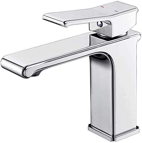 YSNJG Durable baño grifos fregadero cuerpo cobre cuadrado lavabo grifo hogar lavabo baño fregadero caliente y frío fácil instalación
