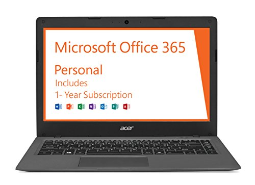 Acer Aspire One Cloudbook, 14-Inch HD, 64GB, Windows 10, Gray (AO1-431-C7F9) includes Office 365 Personal – 1 year