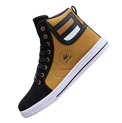 tazimall Mens Round Toe High Top Sneakers Casual Lace Up Skateboard Shoes Newest Style(3 Colors) Gold Size 10.5