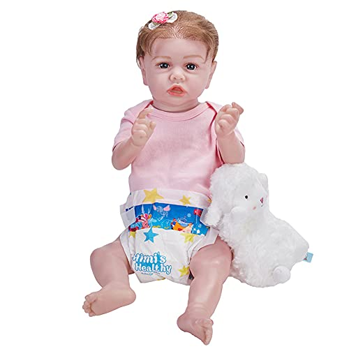 DengDD Muñecas De Nutrición Rubias Reborn Baby Dolls Simulación Baby Doll Baby Doll Reborn Muñeca 58Cm Hecho A Mano para Niños Edad 3+ Juguetes