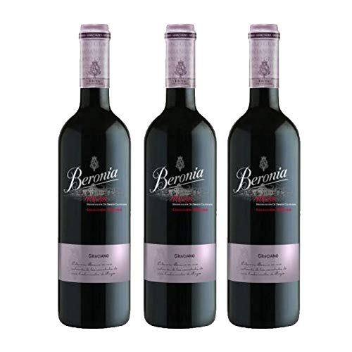 Vino tinto Beronia Graciano de 75 cl - D.O. La Rioja - Bodegas Gonzalez Byass (Pack de 3 botellas)