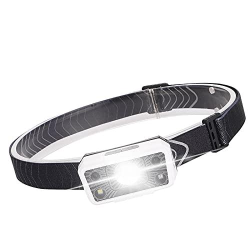 SH-RuiDu Impermeable faro USB LED recargable faro sensor de movimiento luz para correr camping senderismo y pesca