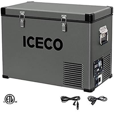 ICECO VL45 Portable Refrigerator with SECOP Compressor, 45Liters Platinum Compact Refrigerator, DC 12/24V, AC 110-240V, 0? to 50?, Home & Car Use (without Insulated Cover)