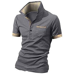 BUZZ WEAR [バズ ウェア] メンズ ポロシャツ poloシャツ 半袖 チェック スキッパー スポーツ ゴルフ ゴルフウェア 春 夏 ダークグレー XL