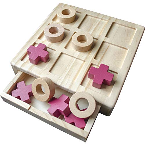 TIC TAC Toe Wooden Board - Family Game, Includes 10 Wooden Game Pieces, Classic Wooden Board Game,...