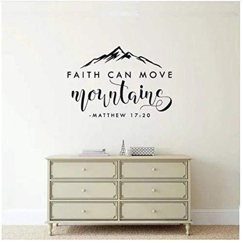 Frases bíblicas Pegatinas de pared Fe puede mover montañas Matthew Bible Tatuajes de pared Vinilo Removible Inicio Decoración de la sala de estar 57x39cm