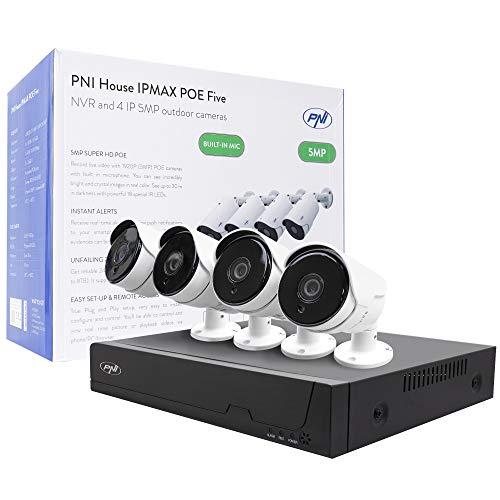 Kit di videosorveglianza PNI House IPMAX POE Five, NVR con 4 porte POE, ONVIF e 4 telecamere con IP 5MP, esterno, Power over Ethernet, rilevamento chip, rilevamento movimento