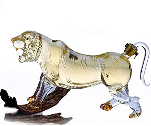 LITINGT Decantador de Whisky Decantador de Vino Decantador de Whisky con Forma de Tigre, Botella de Vidrio espumoso, Botella Transparente con Forma de Animal para el hogar Tiger King para Licor, whi