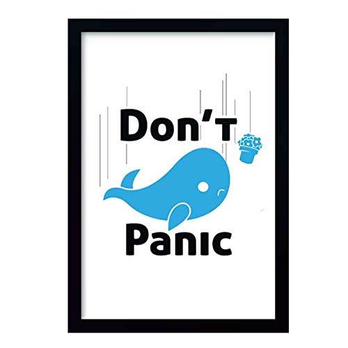 Quadro Don't Panic a Baleia e o Vaso c/moldura e vidro