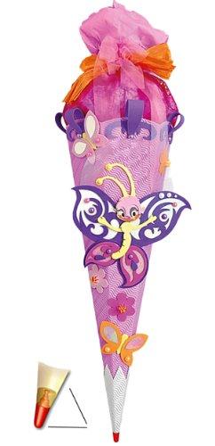 alles-meine.de GmbH BASTELSET Schultüte - Schmetterling 85 cm - mit Holzspitze - Zuckertüte Roth - ALLE Größen - 6 eckig Mädchen Blüten Blumen Schmetterlinge lila