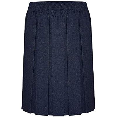 ZET New Girls School Uniform Box Pleat Skirt 2-13 Years Black Grey Navy