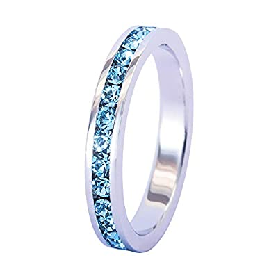 Muses Art Design Birthstone Eternity Band Ring (Channel Set/Full Round), Stackable Fashion Ring with Swarovski Crystal Birthstone