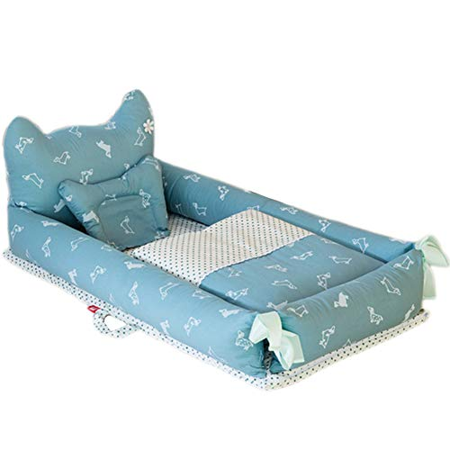 ZXLLO Baby Cot Bed Portable and Lightweight Soft and Breathable Perfect for Cuddling 0-2 Years Children's Multifunctional Baby Bed Dot Dog Blue (Little Bear)