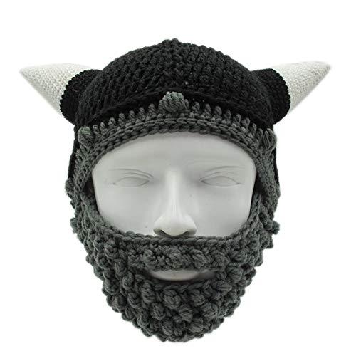 Yvonnelee Damen Herren Mütze Bartmütze Lustige Strickmütze mit Haare für Skilaufen Karneval Halloween Cosplay Party 1043