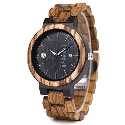 Kim Johanson Herren Holz-Edelstahl Armbanduhr *Dark Week* mit Datum- & Tagesanzeige Handgefertigt Quarz Analog Uhr inkl. Geschenkbox
