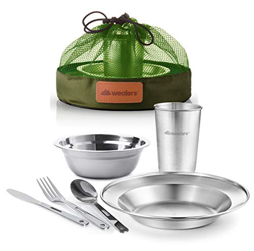 Unique Complete Messware Kit Polished Stainless Steel Dishes Set| Tableware| Dinnerware| Camping| Includes - Cups | Plates| Bowls| Cutlery| Comes in Mesh Bags (Single Person Green)