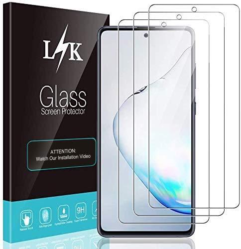 L K 3 Stücke Schutzfolie für Samsung Galaxy Note 10 Lite / S10 Lite Panzerglas, [9H Härte] [Bubble Free] [Hüllenfreundlich] [Einfache Installation] HD Klar Gehärtetem Glas Displayschutzfolie