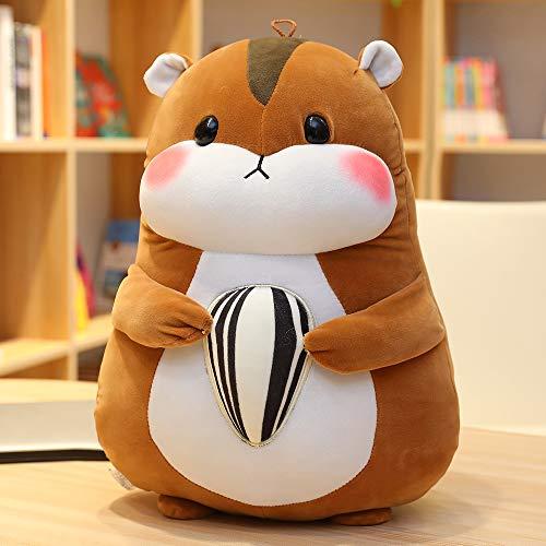 Doinbtoy Süßer Hamster mit Samen Puppe Plüschtier Puppe Kissen Geschenk 30cm Brauner Hamster