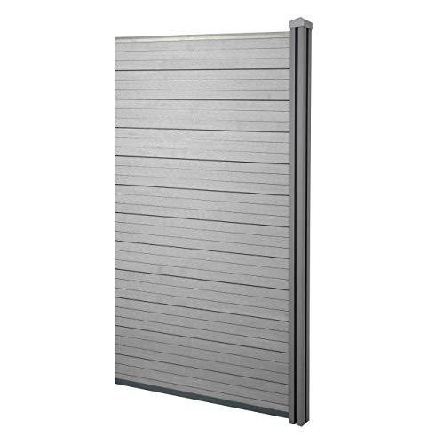 Mendler WPC-Sichtschutz Sarthe, Windschutz Zaun, WPC-Pfosten ~ Erweiterungselement schmal, 0,98m grau