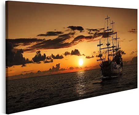 islandburner Tableau Tableaux Un Bateau Pirate en Pleine mer Cadre sur Toile Impression Photo Affiches