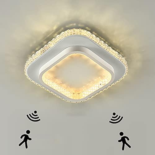 Plafoniera LED Soffitto con Sensore di Movimento e sensore di Luce Diurna 24W Moderna Lampada da Soffitto Quadrata per Corridoio Bagno Camera da Letto Scale Garage 2400LM 6000K Luce Bianca Ø25CM