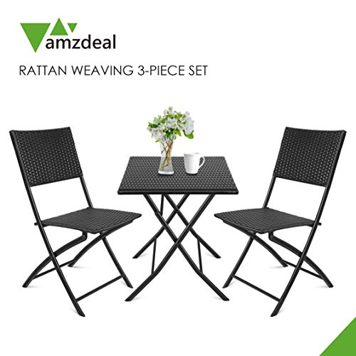 Amzdeal Rattan Garden Furniture Set, 3 Pieces Bistro Set, Rattan Patio Furniture Set of 1 Table And 2 Chairs, Folding Table Chairs for Balcony Cafe Bistro Garden