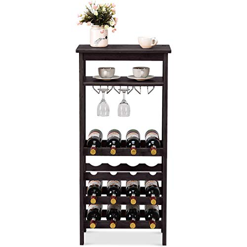 COSTWAY 16-Bottle Wine Rack, Free Standing Wine Storage Shelves, Wine Display Bamboo Rack with Glass Holder, Wobble-Free Bottle Holder for Kitchen Bar Dining Room Living Room (Brown)