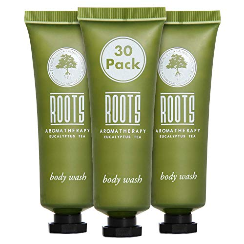 ROOTS AROMATHERAPY Body Wash 1floz/30mL Travel Size Hotel Bulk Pack (Eucalyptus Tea fragrance) Toiletries for Bathroom, Guests, Hotels, Motels, and Lodging (30 pack)