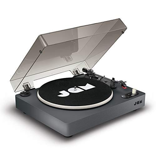 Jam Spun Out Bluetooth Plattenspieler, Vinyl Plattenspieler, 3-fach Riemenantrieb für erstklassigen Sound, Bluetooth-Funktion, Kopfhörerausgang und Aux-Eingang, inklusive Staubschutzhülle, schwarz