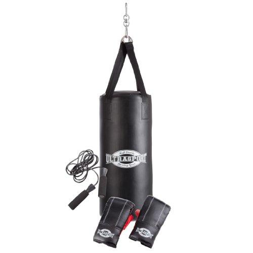 Ultrasport Boxing Gear - Set de boxeo, serie, con saco de boxeo de vinilo de 70 x 30 cm relleno, guantes de boxeo de 8 onzas y cuerda para saltar