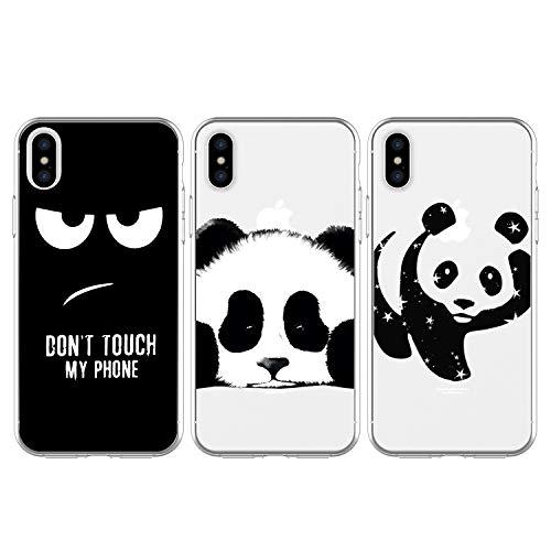 3x Funda para iPhone Xs Max, WINSHINE Carcasa Silicona Transparente Protector TPU Airbag Anti-Choque Ultra-Delgado Anti-arañazos Case Teléfono Caso Caja iPhone Xs Max, Ojo/Panda