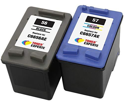 TONER EXPERTE Reemplazo para HP 56 57 2 Cartuchos de Tinta compatibles para HP Officejet 5610 4215 PSC 1210 1215 1315 2110 Photosmart 7260 7350 7450 7660 7762 7960 C4180 C4280 C5280 | Alta Capacidad