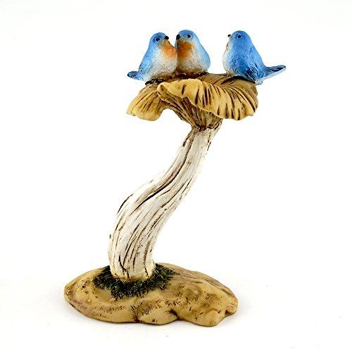 Top Collection 4402 Miniatur Feengarten & Terrarium 3 Blaublättchen auf Pilz Vogeltränke klein