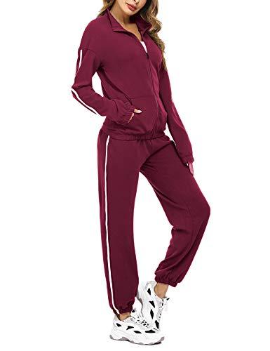 Aibrou Tuta da Ginnastica Donna a Due Pezzi Giacca con Cerniera e Pantaloni Completo Sportivo per Jogging Training Sportiva Casual Pigiama