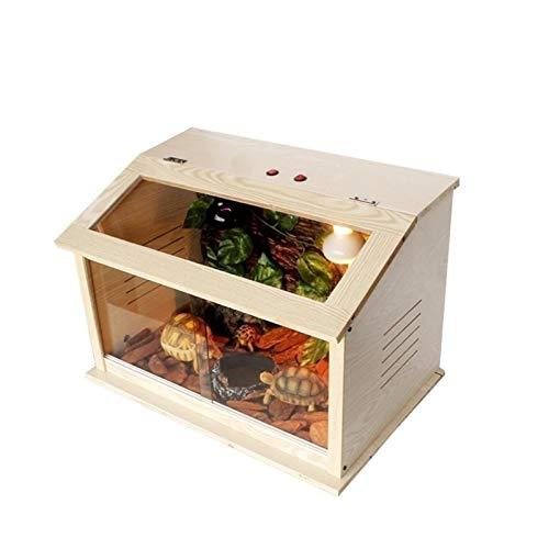 Vivarium de mascotas Caja de Vivarium de reptil, sala de alimentación de madera sólida de la tortuga de la tortuga de la rana con cuernos de la tortuga de la rana Caja de cría de decoración de casa ca
