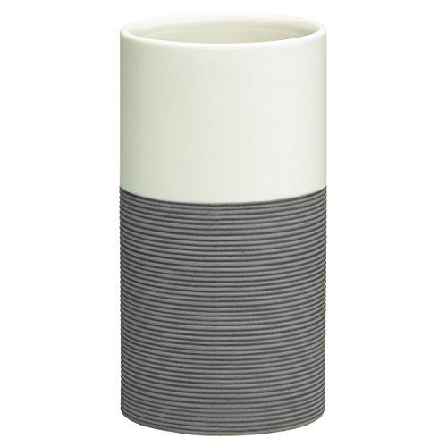 Sealskin Becher Doppio, Zahnputzbecher aus natürlichem Porzellan, Farbe: Grau, handbemalt