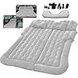 SUV Air Mattress Car Bed Camping Cushion Pillow - Inflatable Thickened Car Air Bed with Electric Air Pump Flocking Surface Portable Sleeping Pad for Travel Camping Minivan Van Trunk