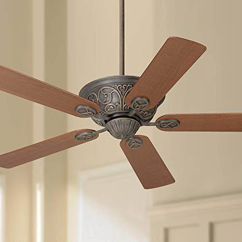 "52"" Casa Contessa Vintage Ceiling Fan Bronze Copper Teak Wood Blades for Living Room Kitchen Bedroom Family Dining - Casa Vieja"