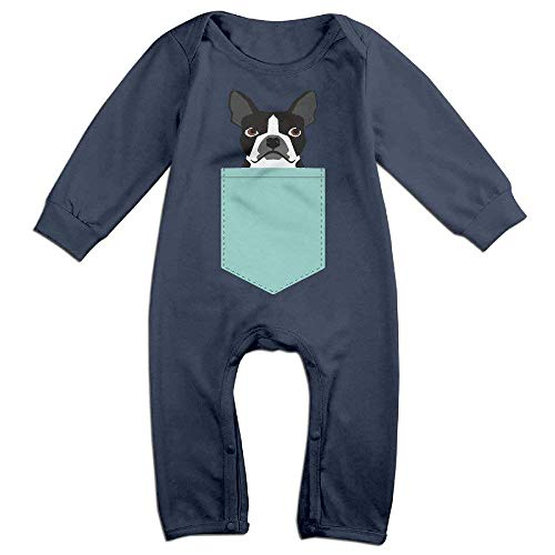 Beauregar Boston Terrier and French Bulldog Unisex Baby Onesie Romper Long-Sleeve Navy
