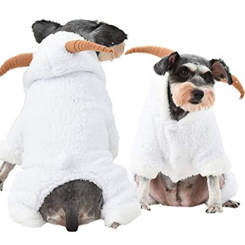 BoyYang Hundemantel Haustier Hunde und Katzen Kostüm Weihnachten Cosplay Weiße Schafe Kleidung Plüsch Mantel mit Kapuze Hoodie Pullover Weihnachtskostüm für Haustier Hunde Welpen und Katzen(S,Weiß