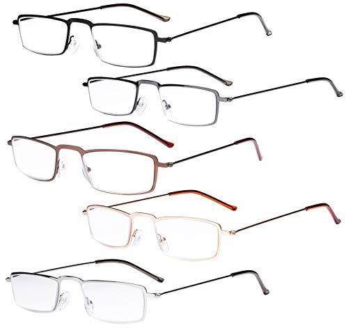 Eyekepper 5-Pack Straight delgado marco de metal estampado de mitad-ojos estilo gafas de lectura lectores, 3.00, Mix-NEW, 5