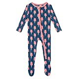 KicKee Pants Print Muffin Ruffle Footie with Zipper Sleepwear, One Piece Baby Bodysuit, Girl Baby Clothes, Baby Footies Pajamas (Navy Cotton Candy - 3-6 Months)