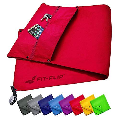Fit-Flip Set di Asciugamani da Palestra con Scomparto a Cerniera + Clip Magnetica + Extra Asciugamano Sport – in Attesa di Brevetto Asciugamano Multifunzionale, Asciugamano in Microfibra – Rosso