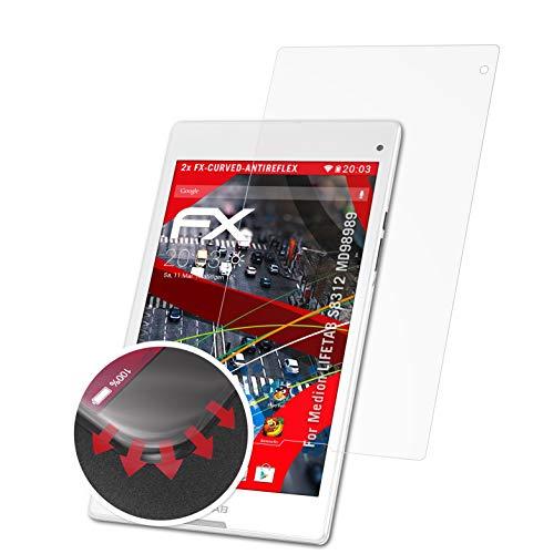 atFolix Schutzfolie kompatibel mit Medion LIFETAB S8312 MD98989 Folie, entspiegelnde & Flexible FX Bildschirmschutzfolie (2X)