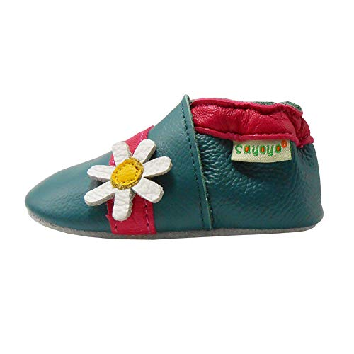 SAYOYO Baby Cute Flower Soft Sole Leather Infant Toddler Prewalker Shoes(0-6 Month,Cyan)