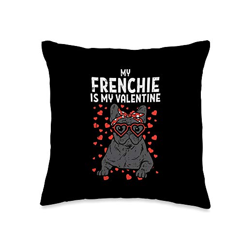Valentines Day Pillows 2021 Men Women Kids Gifts Frenchie French Bulldog Valentines Day Gift Throw Pillow, 16x16, Multicolor
