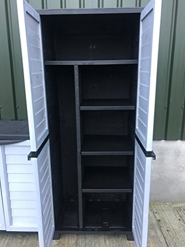 Starplast Heavy Duty Cabinet With 4 Shelves And Side Storage 52.5 x 75 x 187 cm Black & Silver