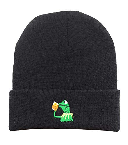 Winter Kermit The Frog Sipping Tea Beanie Warm Comfortable Soft Oversized Thick Cable Knitted Hat Unisex Knit Caps-Black